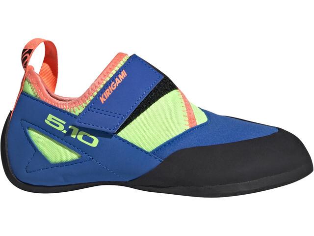 adidas Five Ten Kirigami Climbing Shoes Kids glory blue/signal coral/signal green